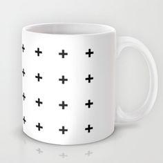 Black Cross on White // Black Plus on White Mug