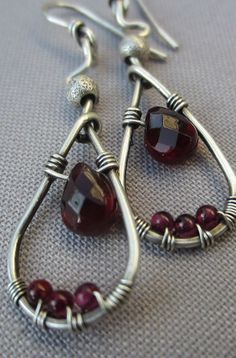 Silver Wire Wrapped Earrings with Garnet Drops/ Artisan Earrings