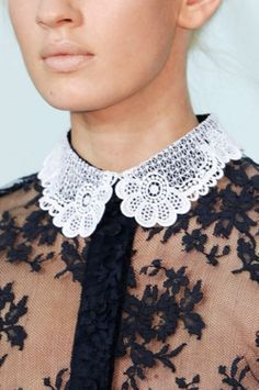 Romantic white lace peter pan collar on black lace dress