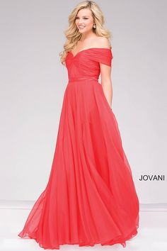 $440 Elegant coral floor length fit and flare chiffon gown features off the shoulder sweetheart neckline rushed bodice, also available in black, emerald, navy, royal and white.