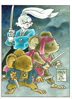 This year's Baltimore Comic-Con's Yearbook will be a tribute to David Petersen's excellent Mouse Guard series. Ink and watercolor on 500 series, cold press, Strathmore bristol. Akira, Comic Book Artists, Comic Books, Usagi Yojimbo, Fullmetal Alchemist Brotherhood, Tmnt, Samurai, Character Design, Geek Stuff