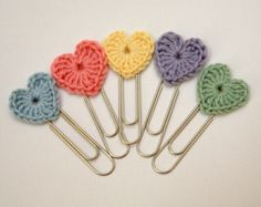 tea+party+setting+with+a+crochet+theme | Set of 3 Crochet Heart Jumbo Paperc lip bookmarks ...