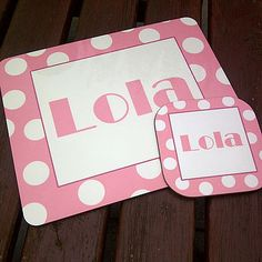 Personalised Spotty Placemat And Coaster Set