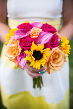 Whimsical Seaside Wedding - For Color Lovers! See the wedding on SMP: http://www.StyleMePretty.com/massachusetts-weddings/marblehead/2014/03/05/whimsical-seaside-wedding/ Zev Fisher Photography | Wedding Flowers by Annette