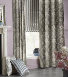 Austen fabric collection Net Curtains, Pelmet Designs, Curtain Drops, Pelmets, Buy Fabric, Roman Blinds, Muted Colors, Leaf Design
