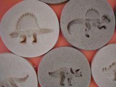 Dinosaur fossils with salt dough