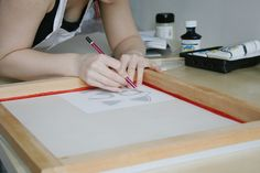 screen printing at home by drawing onto the screen