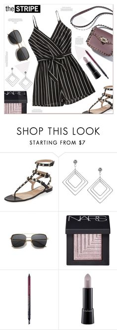 """""""the stripe"""" by mycherryblossom ❤ liked on Polyvore featuring Valentino, NARS Cosmetics, Kevyn Aucoin and MAC Cosmetics"""