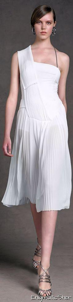 Donna Karan Pre Spring 2013 white short dress women fashion outfit clothing style apparel @roressclothes closet ideas