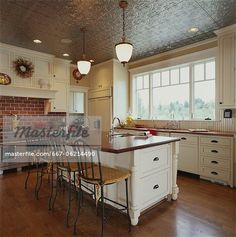 Traditional Kitchen with Pressed Tin Ceiling – Image © Masterfile.com: Creative Stock Photos, Vectors and Illustrations for Web, Mobile and Print