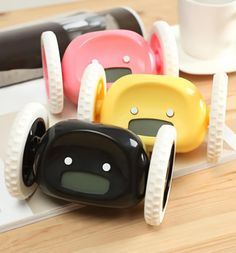 A cute alarm clock on wheels that runs away and beeps until you catch it