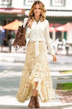 Lace boho maxi skirt