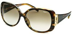 Fendi Women's Square Striped Havana Sunglasses in Brown