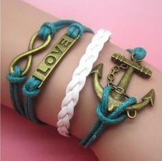 Bracelet {Anchor.Infinity.love} Blue.White.Bronze