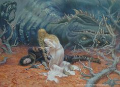 The death of Glaurung by Elena Kukanova