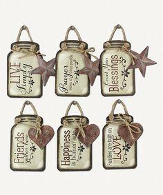 Another great find on #zulily! Mason Jar Hanging Décor - Set of Six #zulilyfinds