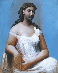 Pablo Picasso - Blue Period - Seated Woman in a Chemise, 1923 Art Picasso, Picasso Paintings, Picasso Portraits, Georges Braque, Henri Matisse, Paul Gauguin, Cubist Movement, Francis Picabia, Art Terms