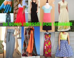 26 Long Dresses for Summer + Women's Maxi Dresses and Skirts - It's no secret that maxi dresses have been one of this summer's most popular trends. What's not to love? They're slimming, flatter every body type, comfortable and easy to dress up or keep casual. One more thing to love about these long dresses for summer - you can actually make them yourself! Check out this newly updated collection from AllFreeSewing today!