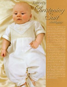 #116 2008 - Aaron's Christening Suit, sz. NB-24m suit and matching girl's yoke dress sz. 1-8, designed by Amelia Johanson