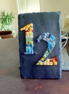 House number, custom mosaic door plate to order, mozalicia creation Mosaic Tray, Ceramic Mosaic Tile, Mosaic Wall Art, Mosaic Glass, Mosaic Art Projects, Mosaic Crafts, Slate Art, China Crafts, Mosaic Madness