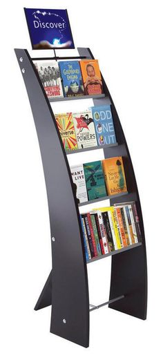 """""""Smaller display for better browsing"""" - Research shows that patrons prefer to select from smaller displays rather than standard shelving. These single- and double-sided Book Pods make library products easy to see, touch, and take away. Library Shelves, Library Displays, Bookshelves, Teen Library Space, Children's Library, Middle School Libraries, Public Libraries, Library Furniture, School Librarian"""