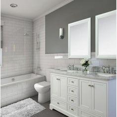 Longford 60 Double Bathroom Vanity Set Birch Lane™ - Where can you buy bathroom furniture Bad Inspiration, Bathroom Inspiration, Bathroom Title Ideas, 5x7 Bathroom Layout, Grey Bathrooms, White Bathroom Vanities, Marble Bathrooms, Master Bathrooms, Farmhouse Bathrooms