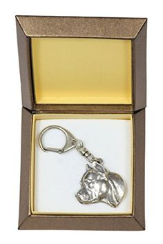 NEW, American Staffordshire Terrier (no collar), dog keyring, key holder, in casket, limited edition, ArtDog >>> More info could be found at the image url.