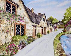 Irish Houses - Original Watercolor Painting