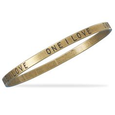 "Oxidized brass 4.5mm bangle bracelet with ""One I Love""."