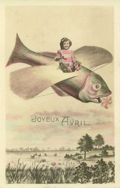 An Easter greetings delivered to you by a strange baby on a flying fish!