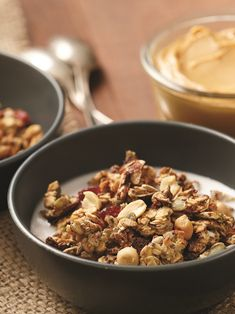 This easy, low sugar, oil-free, Nutty Homemade Granola is filled with peanutty, seedy, oaty goodness! Includes options for gluten-free, nut-free and vegan!