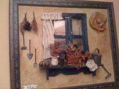 EL ARTE DE TRABAJAR CON LA PASTA DE PAPEL                                                                                                                                                                                 Más Vitrine Miniature, Miniature Rooms, Clay Houses, Ceramic Houses, Minis, Clay Wall Art, Plant Box, Fabric Brooch, Arts And Crafts