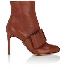 Valentino Garavani Women's Half-Bow Leather Ankle Boots ($1,175) ❤ liked on Polyvore featuring shoes, boots, ankle booties, ankle boots, tan, stiletto bootie, tan leather boots, leather boots, leather booties and leather bootie