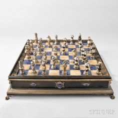 French .800 Silver and Parcel-gilt Chess Set