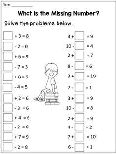 Missing Addends Worksheets for Homework or Morning work Free Printable Handwriting Worksheets, Grade R Worksheets, School Worksheets, Math Stations, Math Centers, Kindergarten Math, Teaching Math, Math Drills, Addition And Subtraction Worksheets