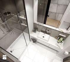 MINIMALIZM Z TURKUSEM - Mała łazienka w bloku bez okna, styl nowoczesny - zdjęcie od PEKA STUDIO