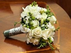hand tied bouquet of white freesias and white roses sarah Freesia Wedding Bouquet, Bright Wedding Flowers, Winter Wedding Flowers, Bride Bouquets, Floral Wedding, Bouquet Flowers, Trendy Wedding, Bridesmaid Bouquets, Black Flowers