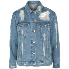 Topshop Moto Rip Extreme Denim Jacket (80 AUD) ❤ liked on Polyvore featuring outerwear, jackets, distressed denim jacket, denim jacket, blue denim jacket, blue jackets and oversized jacket