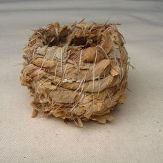 Barking for a Nest: Paperbark and Linen Thread. Open Coil Weave. 80mm x 70mm by Annies Workroom, Currency of Birdsong: Floating Land 2013