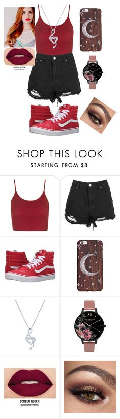 """Red and Black (Ft Lydia Martin casual version)"" by stacy-gurly ❤ liked on Polyvore featuring Topshop, Boohoo, Vans, BERRICLE, Olivia Burton and Smashbox"