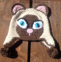 Crochet Baby Hat, Cat Hat, Baby Cat Hat, Siamese Cat, Newborn Photo Prop, Infant…