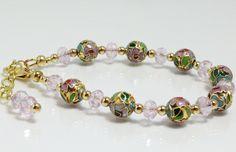Floral Cloisonne Bracelet with Pink Crystals, $37