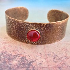Gold Hammered Cuff, Hammered Brass Cuff Bracelet, Gold and Red Cuff Bracelet, Red Fern Studio