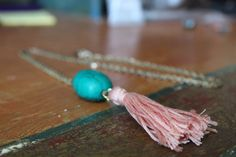 Turquoise Stone and Pink Tassel Necklace shoproryandme.etsy.com