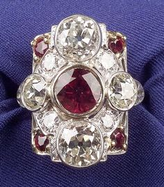 Art Deco Platinum, Ruby, and Diamond Ring