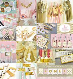 Primeras Ideas de fiesta de cumpleaños para una niña son todo en este color de rosa y oro primer cumpleaños fiesta decoraciones paquete. Oro brillante y