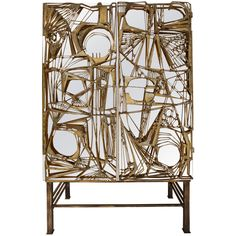 "Mirrored Lucite Cabinet ""Gio Pomodoro"" Sculptural Doors 