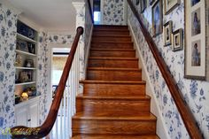 Gorgeous blue and white wallpapered foyer....Dutch Colonial Home tour in Maryland - Debbiedoo's
