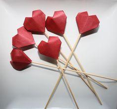 Origami Wedding Heart Cake ToppersCake PicksHandmade ToppersOrigami
