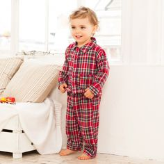 Every child's wardrobe needs a set of classic pyjamas. Timeless, adorable and comfortable, our Classic Red Tartan Classic Pyjamas are a lovely option this season. Sweet details such as the delicate piping make our pyjamas extra special, while soft cotton Toddler Boy Fashion, Kids Fashion, Baby All In One, Kids Nightwear, Tartan Fashion, Toddler Christmas, Pyjamas, Outfits For Teens, Noel